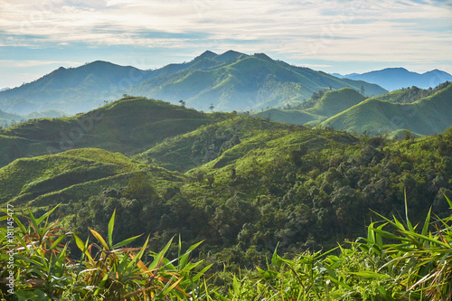 Deurstickers Heuvel Sky, mountain and forest in cloudy day. Beautiful landscape in Thailand.