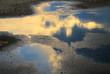 Leinwandbild Motiv 水たまり 反射 夕暮れ 素材