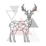 Scandinavian deer, side view. Geometric vector illustration. - 181147862