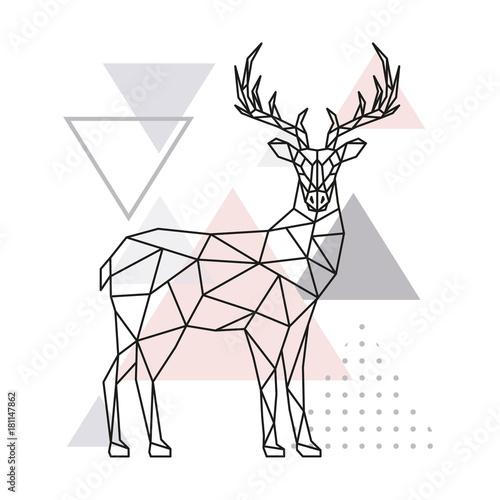 Skandynawskie jelenie, widok z boku. Geometryczna wektorowa ilustracja.