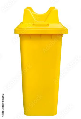 Fotografija  yellow refuse bin, isolated
