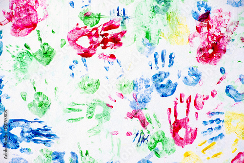 Fotografia, Obraz  colorful child hand prints on white background