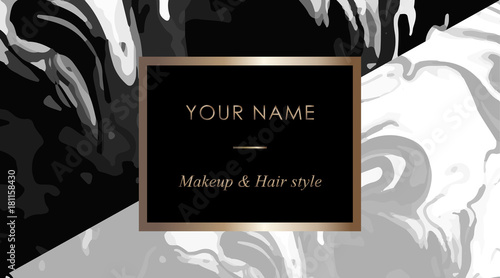 Makeup Artist And Hair Stylist Business Card Template Elegant Vector Cards With Black White Marble Texture E For Your Text