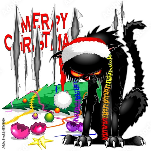 Spoed Foto op Canvas Draw Evil Black Cat Broken Christmas Tree