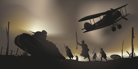 Wojna światowa - 14-18 - Bitwa - Centennial - Rozejm - Czołg - Samolot - Verdun