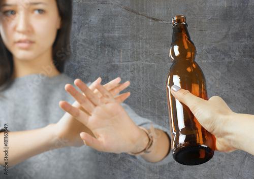 woman refused alcohol drink Wallpaper Mural