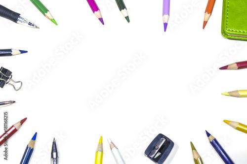 Fototapeta School pencils. It's time to go to school! Light background obraz na płótnie