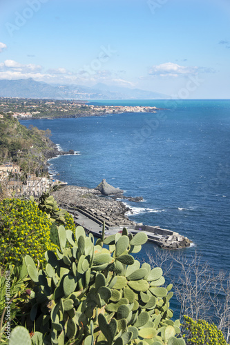 panorama from Chiazzette Acireale with Taormina background Canvas Print