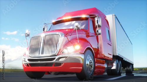 semi trailer, Truck on the road, highway Canvas Print