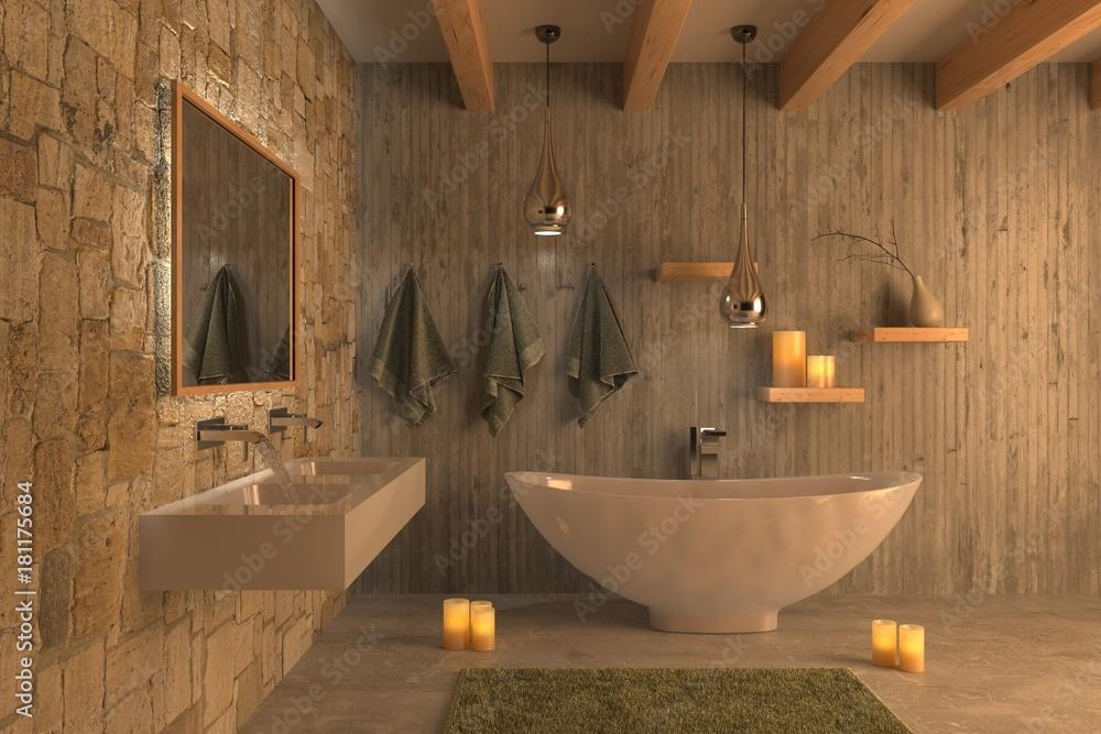 Vasca Da Bagno In Cemento : Bagno con vasca travi in legno muro di cemento e candele foto