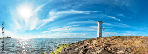 Poster Molens Panoramic image of a seaside by lighthouse in Swinoujscie, Poland