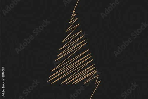 Fototapeta Abstrakter Christbaum in gold obraz