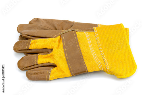 Fotografia, Obraz  Yellow leather and cotton protective gloves cut out on a white background
