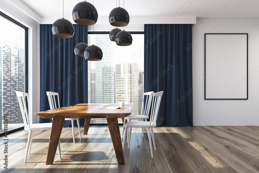 Photo Art Print Blue Curtains Dining Room Poster