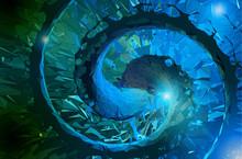 Abstract Polygonal Spiral Art Bg