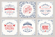 Ornate Square Winter Holidays Greeting Cards With Typographic Design, Reindeers, Christmas Doves, Floral And Swirl Frames.