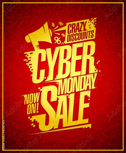 Papiers peints Affiche vintage Cyber monday crazy discounts sale