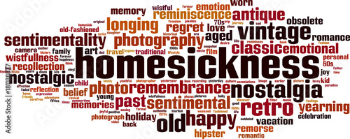 Homesickness word cloud Wallpaper Mural