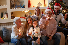 Family Together For Christmaswith Shiny Sparkles