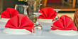 canvas print picture - table red set dining restaurant