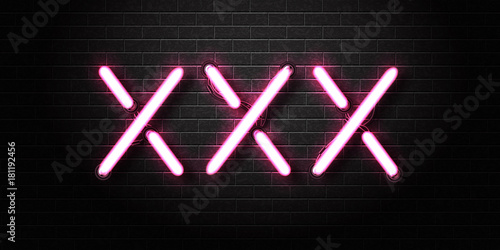 Fotografia  Vector realistic isolated erotic neon sign of XXX for decoration and covering on the wall background