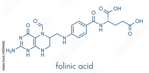 Folinic acid (leucovorin) drug molecule Canvas Print