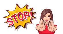 Woman Gesturing No Or Stop Sig...
