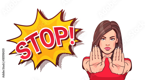 Woman Gesturing No Or Stop Sign Showing Raised Palms Vector Illustration