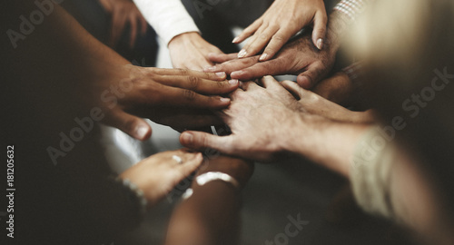 Papel de parede People with joined hands as a team