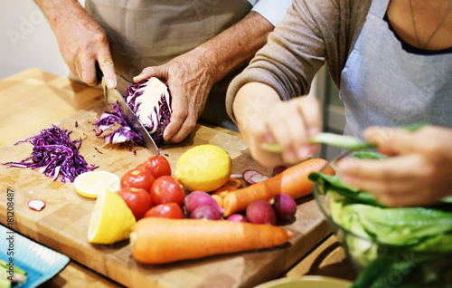 Photo sur Toile Cuisine Senior couple cooking together in the kitchen