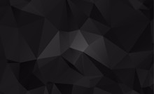 Black Dark  Polygonal Low Pattern. Geometric Pattern.Repeating Pattern With Triangle Shapes.Seamless Texture For Your Design.Repeating Pattern
