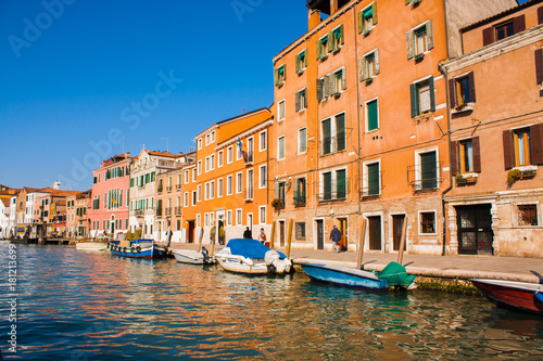 Canvas Prints Venice City of Italy. View on Grand Canal, Venetian Landscape with boats and gondolas