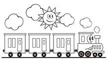 Train Set, Three Wagons Locomo...