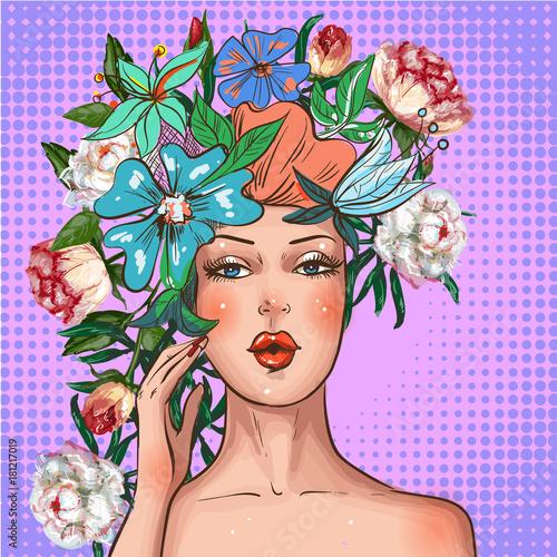vector-pop-art-girl-with-flower-wreath-on-head