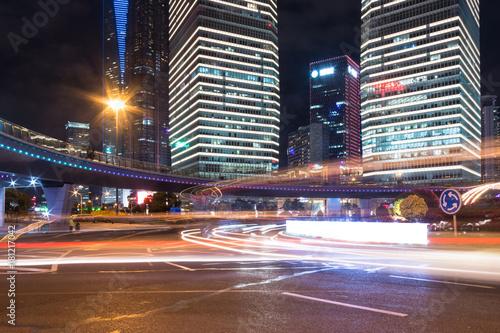Plakat Scena nocy miasta Shanghai