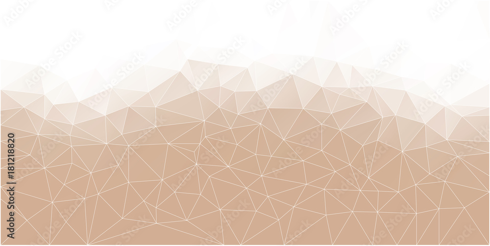 Abstract Polygonal Mosaic background of triangles light cream color. Blurry pink grid. Color hazelnut according to Panton. Vector illustration for your business artwork. Creative Design Templates.