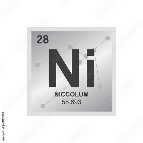 Vector Symbol Of Nickel From The Periodic Table Of The Elements On