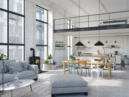 modern loft apartment. 3d rendering Canvas Print