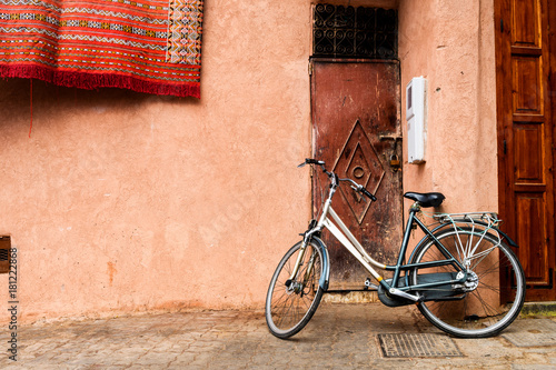 Recess Fitting Bicycle streets of marrakech old medina, morocco