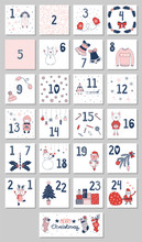 Hand Drawn Advent Calendar With Cute Cartoon Characters In Winter Clothes, Christmas Tree, Santa Claus, Presents, Stockings, Decorations, Typography. Design Concept For Children. Vector Illustration.