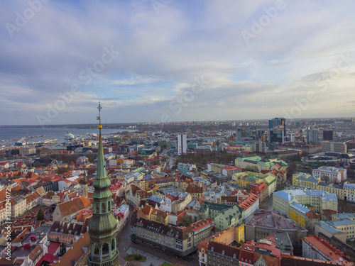 Fototapety, obrazy: Aerial view Tallinn Old Town
