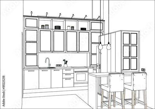 3d Vector Sketch Classic Kitchen Design In Apartment Interior