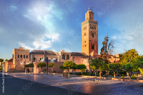 Photo Stands Morocco Koutoubia Mosque minaret located at medina quarter of Marrakesh, Morocco