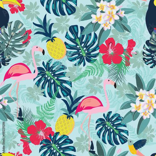 Obrazy do salonu w ozdobny wzór z liśćmi flaminga, ananasa, tukana i monstera