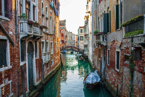 Poster Venise Venice City of Italy. View on Canal, Venetian Landscape with boats and gondolas