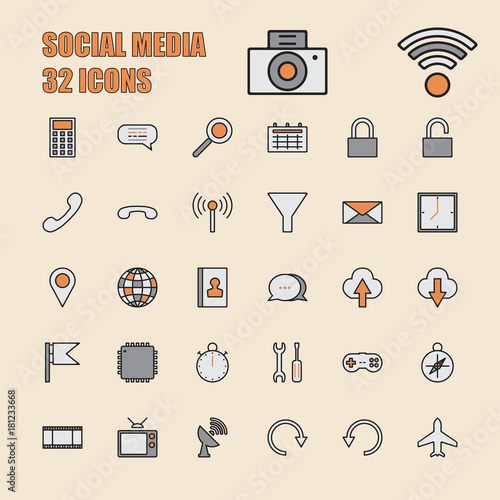 Social Media vector illustration thin line 64x64 Pixel, 32 icons set