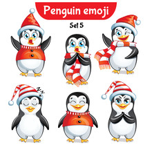 Vector Set Of Christmas Pengui...