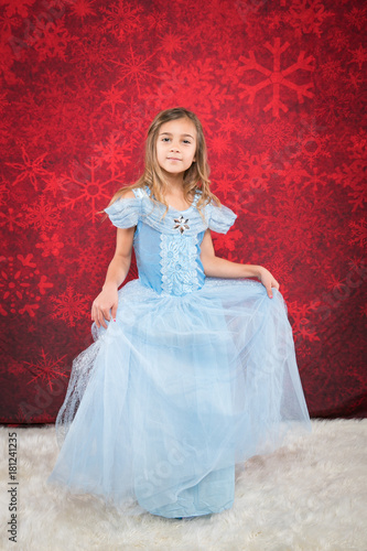 little girl in cindrella dtyle dress Canvas Print