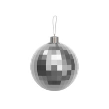 Christmas Silver Faceted Ball Isolated On White Background