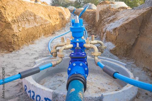 Fotografia Baustelle für eine neue Wasserleitung im Baugebiet